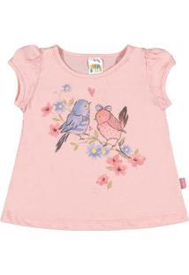 Blusas Bebê Pulla Bulla Cotton Feminina - Feminino-Rosa Claro