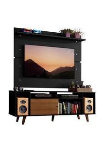 Rack Madesa Cancun Com Pés E Painel Para Tv Até 65 Polegadas Rustic/Preto D8D8 Cor:Preto/Rustic