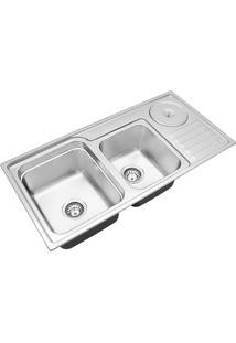 Cuba Para Cozinha Dupla Com Lixeira Funzionale 228 Acetinada 92X45X22,7Cm - Debacco - Debacco