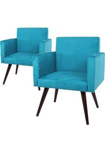 Kit 02 Poltronas Decorativa Pã©S Palito Tabaco Nina Suede Azul - Ds Mã³Veis - Azul - Dafiti