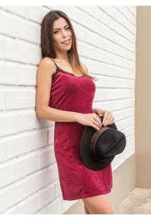 Vestido Slip Dress Quintess Em Plush Bordô