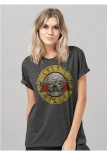 Camiseta Bandup! Guns N Roses Bullet Mescla Feminina - Feminino-Mescla Escuro