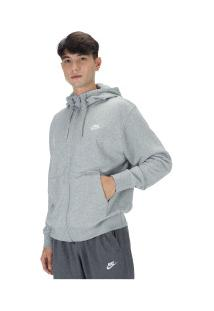 Jaqueta Com Capuz Nike Club Hoodie Fz Ft - Masculina - Cinza Claro