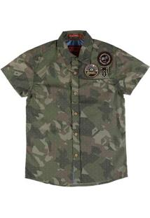 Camisa Manga Curta Camuflada Juvenil Para Menino - Verde