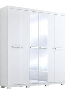 Guarda Roupa Casal 06 Portas Com 02 Portas Com Espelho Larissa Acp Móveis Branco