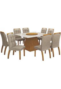 Mesa De Jantar Grécia Prato Giratório 140Cm Com 8 Cadeiras Imbuia Mel / Linho Bege