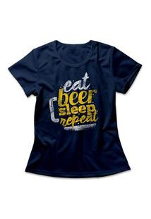 Camiseta Feminina Beer Repeat Azul Marinho