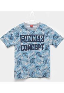 Camiseta Infantil Kyly Folhagem Summer Concept Masculina - Masculino-Azul