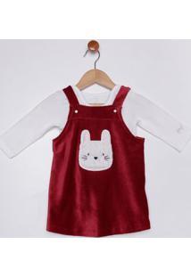 Vestido Veludo Com Body Infantil Para Bebê Menina - Vermelho/Bege