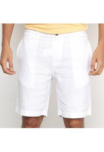 Bermuda Richards Linho Masculina - Masculino-Branco