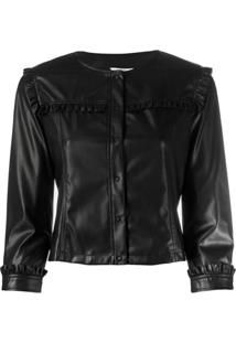 Liu Jo Frill Detail Collarless Jacket - Preto