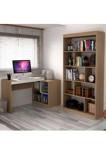 Escrivaninha E Estante Com 6 Prateleiras Para Escritório-Ho-2961-Hecol - Avela / Branco