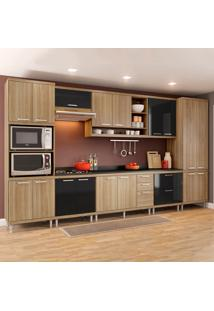 Cozinha Completa Sicília Com Tampo 17 Portas 5 Gavetas Argila/Preto - Multimóveis