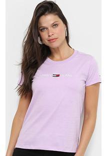 Camiseta Tommy Jeans Logo Feminina - Feminino-Lilás