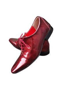 Sapato Masculino Italiano Oxford Em Couro Art Sapatos Vermelho Brilhante