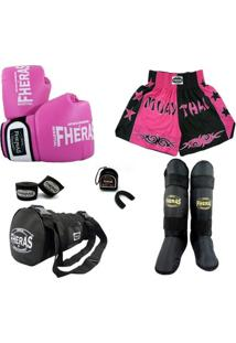 Kit Muay Thai Orion -Luva Bandagem Bucal Caneleira Bolsa Shorts Bicolor 08 Oz - Feminino