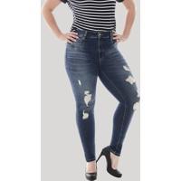 090f9eb5ae5f Calça Jeans Feminina Sawary Cigarrete Com Rasgos Plus Size Azul Escuro