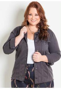 Jaqueta Em Sarja Cinza Plus Size Marguerite