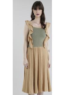 Vestido Gig Couture Em Tricô Com Lurex Dourado