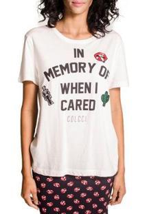 Camiseta Colcci Patches Feminina - Feminino-Off White