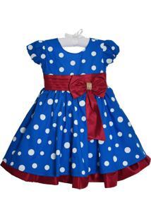 Vestido Infantil Menina Bonita Poá Azul