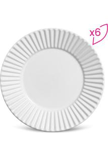 Jogo De Pratos Para Sobremesa Plissê- Branco- 6Pçs