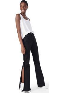 Calça Jeans Flare Detalhe Veludo