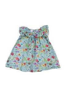 Vestido Infantil Cetim De Algodão Estampa Digital Floral - Turquesa