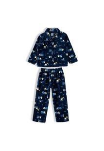 Pijama Infantil Masculino Tip Top Soft Casaco + Calça Carrinhos Marinho