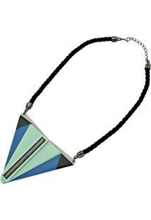 Colar Le Diamond Acrílico Geométrico Azul - Kanui
