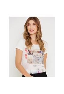 Camiseta Kessey Gola Redonda Fundo Off-White