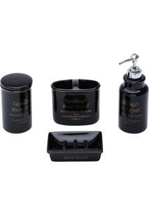 Conjunto Para Banheiro Cerâmica 4Pçs Royal Preto Prestige