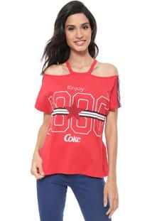 Camiseta Coca-Cola Jeans Recortes Aroma Vermelha