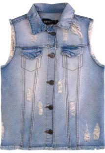 Colete Jeans Infantil Authoria Bordado Flores Feminino - Feminino-Azul