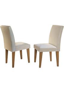 Cadeira Grécia Veludo Creme Imbuia