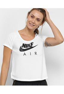 Camiseta Nike Air Top Mesh Feminina - Feminino-Branco+Preto