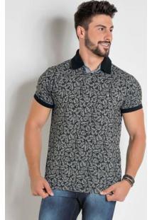 Camisa Polo Folhagem Com Detalhes Em Preto