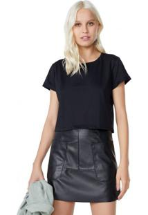 Amaro Feminino T-Shirt Cropped Sustentável, Preto