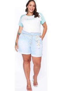 Shorts Almaria Plus Size Izzat Jeans Clochard Azul