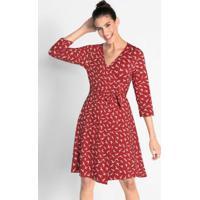 649fe4b05 Posthaus. Vestido Com Amarração Estampado Vermelho