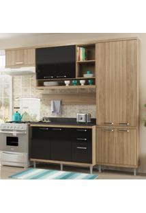 Cozinha Compacta 9 Portas Sicília Com Tampo 5839 Preto/Argila - Multimóveis