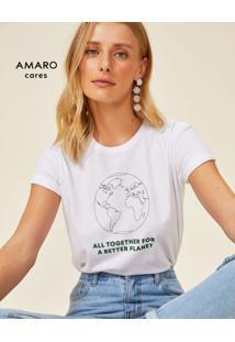Amaro Feminino T-Shirt Earth, Branco