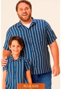 Camisa Azul Tradicional Listrada Plus