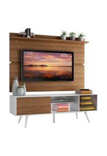 Rack Madesa Cairo E Painel Para Tv Até 65 Polegadas Com Pés De Madeira Branco/Rustic Cor:Branco/Rustic/Rustic