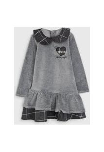 Vestido Infantil Plush Cinza