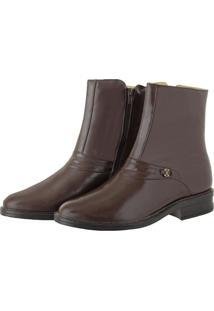 Bota Pessoni Boots & Shoes Social Cano Alto Em Couro Marrom - Kanui
