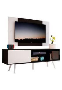 Rack Madesa Cairo E Painel Para Tv Até 58 Polegadas Com Pés De Madeira Preto/Branco 77C7 Cor:Preto/Branco