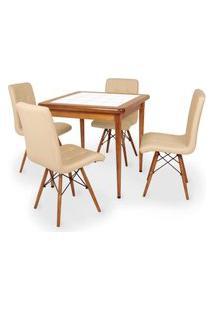 Conjunto Mesa De Jantar Em Madeira Imbuia Com Azulejo + 4 Cadeiras Gomos - Nude
