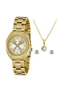 Kit Relógio Feminino Lince Analógico Dourado - Lrg4679L-Kz79C2Kx Dourado
