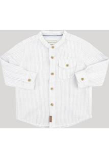 Camisa Infantil Listrada Com Bolso Gola Padre Manga Longa Off White